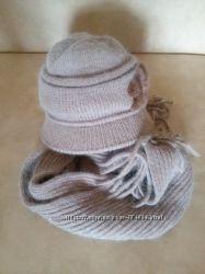 Набор кепка вязанная и шарф с ангоры  размер 57-58
