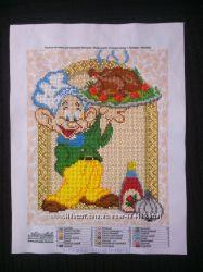 Вышивка бисером гномик - повар  курица