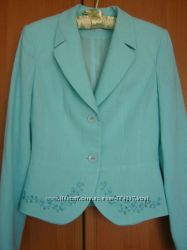 Юбка и пиджак из льна цвета мяты S-M