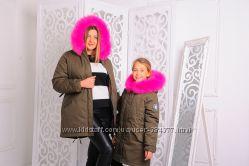 Теплая  женская куртка-парка с натуральным мехом. 42, 44, 46р