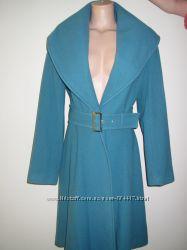 Теплое шерстяное пальто цвета морской волны, зеленое