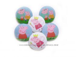 Пуговицы детские ручной работы для декора детской одежды Свинка Пепа