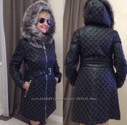 Новое кожаное стеганое пальто Philipp Plein оригинал мл