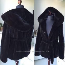 Норковая шуба Black Nafa с огромным капюшоном кобра 70 см цельная идеал