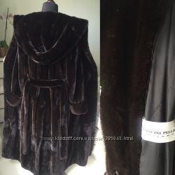Норковая шуба  Blackglama с огромным капюшоном 140см Италия Мancini цельная