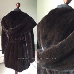 Норковая шуба 80 см с огромным капюшоном кобра Nafa Mink 80см