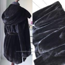 Норковая шуба Nafa 85 см с  капюшоном кобра фасон халат