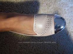 Стильные слипоны на ногу 24см бежевые