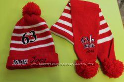 Комплект шапка с шарфом деми на ОГ 51-55.