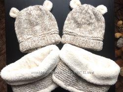 Комплект ZARA шапка и снуд оригинал на 50-54, для двойняшек-близняшек