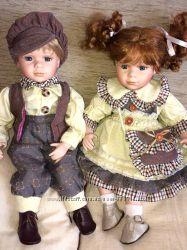 Винтажные куклы интерьерные, Германия, братик и сестричка
