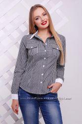 Рубашка Техас, женская блуза черная в белую клетку