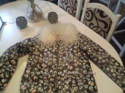 Стильная куртка PU кожа, с воротником из натуральной ламы