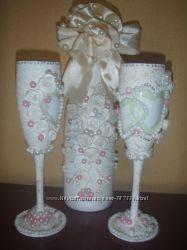 Декор свадебных и новогодних бутылок