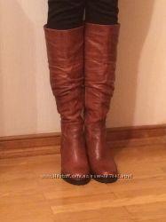 Высокие кожаные осенние сапоги на тракторной, 38, коричневые