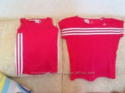 2 футболки Adidas оригинал, 140 рост. Ярко малиновые