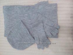 Комплект шарф шапка перчатки Бонприкс