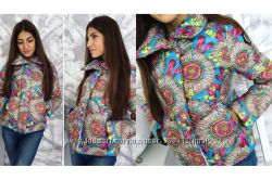 Утепленная женская куртка абстракция звезды мозаика камуфляж