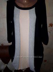 Уютная туника тонкой вязки короткое платье