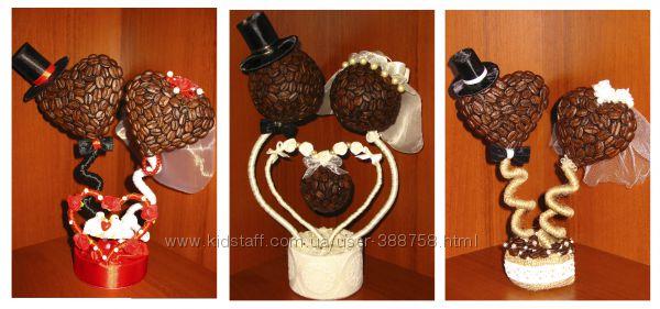 Кофейный топиарий. Подарок на свадьбу