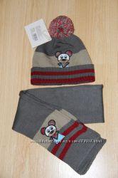 Комплект шапочкашарфик на мальчика 1-2года