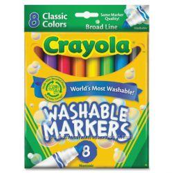 Маркеры, фломастеры смываемые, восковые мелки Crayola