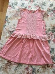 TU. 12-14 лет. Нарядное персиковое платье. Кружево.
