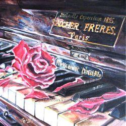Картина роза на клавишах