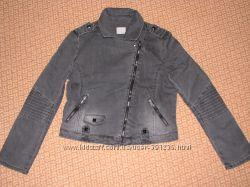 Джинсовая  модная куртка косуха темно-серая р. S, M