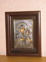 Икона Казанской Божьей матери серебро 925 пробы с позолотой