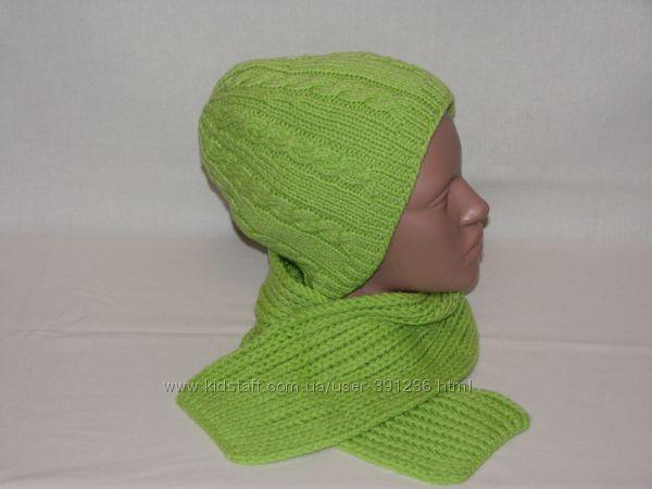 Комплект вязаная шапка женская шарф на объем 55-56 см