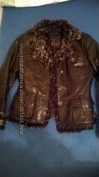Кожаная теплая куртка
