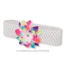 113441 Повязка біла широка з кольоровою квіткою The Childrens Place