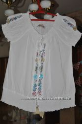 белоснежная блузка - вышиванка на р-р 44-48
