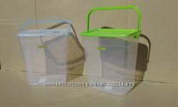 емкость контейнер для хранения порошка и ванных принадлежностей с ручкой