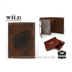 Ручная работа. Портмоне вертикальный коричневый кожаный Always Wild