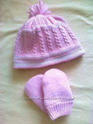 Демисезонний комплект шапочка и варешки