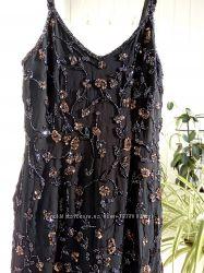 Шикарное вечернее нарядное платье бисер пайетки