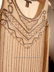 Нюдовое вечернее нарядное платье на корпоратив выпускной вышитое бисером