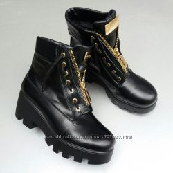 Зимние ботинки кожа реплика Balmain р. 35