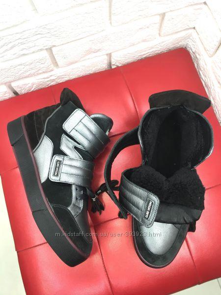 Зимние ботинки кеды хайтопы натуральная замша кожа