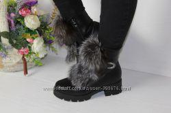 шикарные ботинки чернобурка