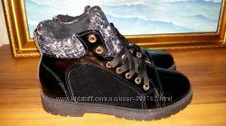 Зимние лаковые ботинки синего или черного цвета