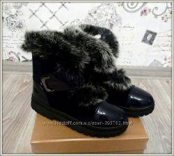 Зимние ботинки темно-синего цвета с опушкой из кролика