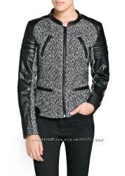 Новая стильная куртка из твида и кожзама Mango Испания р. 34