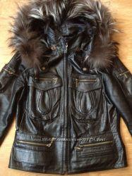 Кожаная куртка мех чернобурка  р. 46