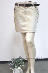 Вельветовая  юбка весна лето бежевая