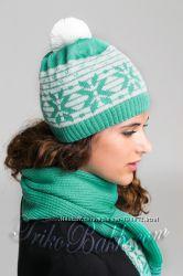 Комплект шапка шарф 886 бирюза белый ТМ TrikoBakh