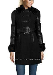 Шерстяное демисезонное пальто Runway с кожаными вставками, новое, р-р М