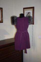 Пальто-жилет с мехом чернобурки